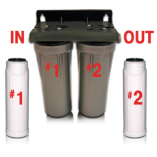 (Well Water) Iron-Hydrogen Sulfide-Chlorine-VOCs-Sediment-Bacteria Filter w/ Double Housing